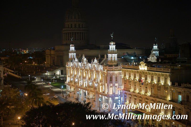 Night lights of The Gran Teatro Opera House with Capitolio in background.