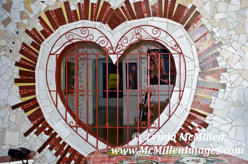 Mosaic heart, a window into his gallery of paintings.