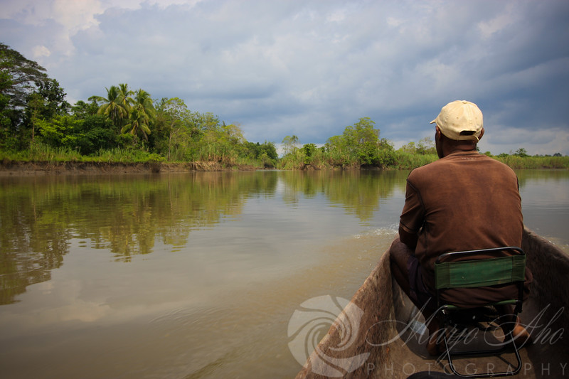 After traveling up against the flow on the upper Sepik River, we take off on the tributary named April River.