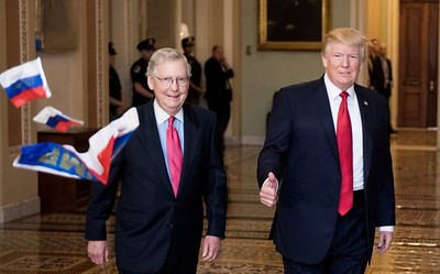 McConnell & Trump Pelted with Russian Flags (23 Oct. 2017)