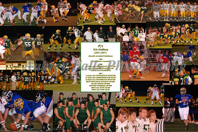 """Eric's Poster was from his Varsity Years and included his """"Football Resume"""" as the center Piece."""