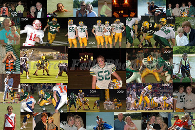 Most Collages are done in a 20 x 30 size.  I have also done 8x10, 11x14, and 20x24.  This one of Adron Belk had pictures form his varsity years surrounded by family photos from that time period.