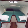 Aft cabin. Berth can be used as singles or converts to extra wide double.