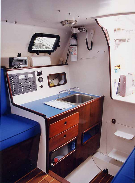 Galley, starboard side, stove opposite