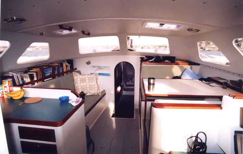 Nice view from the spacious deck house. The hull flair provides ample beam for accommodation while still having a slender hull at the waterline.