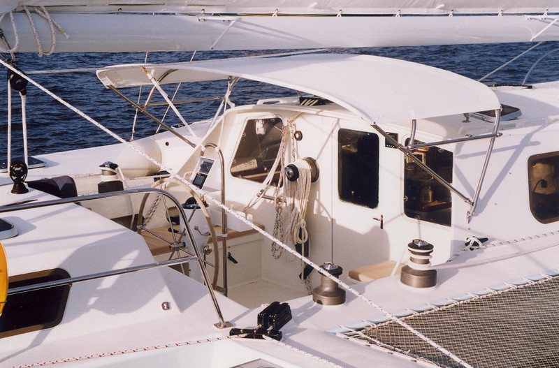 Cockpit is well sheltered and set up for single handed sailing.