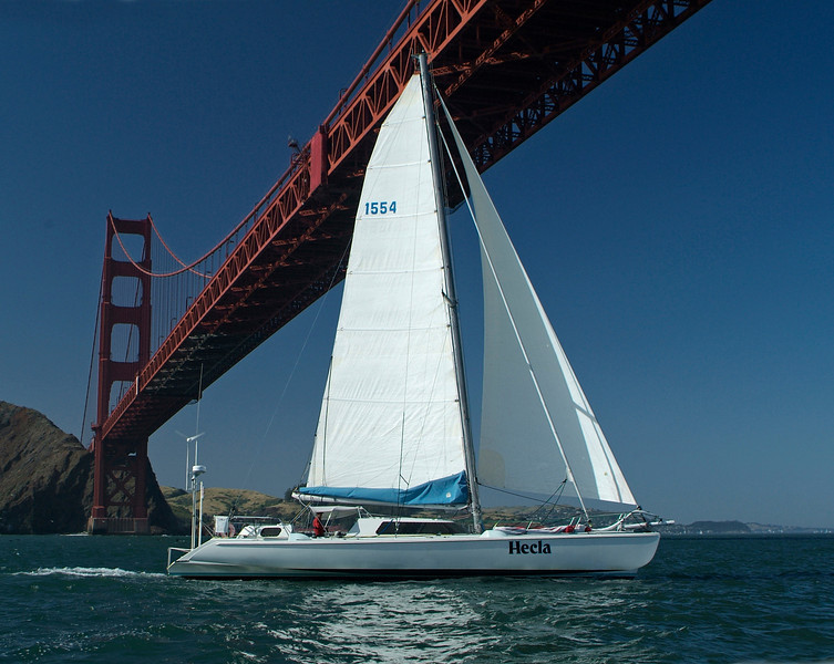 Owner Jeff Lebesh finishing first by 16 hours in the single handed Farallones Race, 2009. San Francisco.