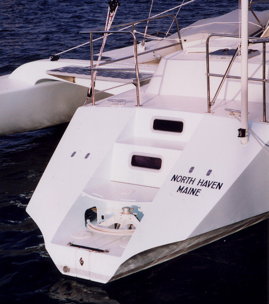 Retractable rudder kicks up on impact and can steer while partially retracted. Not the simplest rudder to build but the best configuration for this boat and it is unbreakable.