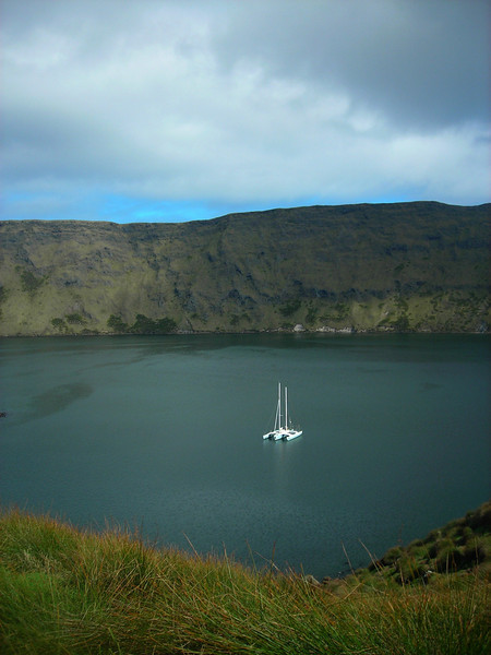 Juniper anchored in the caldera of St. Paul Island, one of the most remote places on earth.