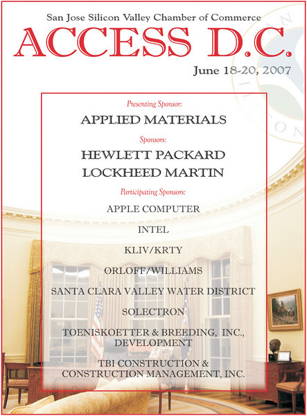 Flyer promoting Access DC, an annual delegate trip to the Nation's Capitol. Features an image of the Oval Office I shot during the same trip in 2006.