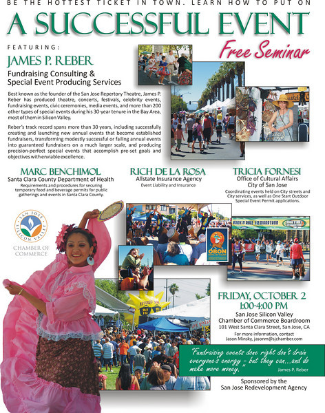 Event flyer designed for the San Jose Redevelopment Agency and the San Jose Silicon Valley Chamber of Commerce using photos I had taken of various city events the previous year.
