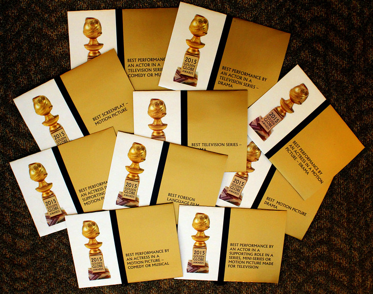 For 35 years, I've been making the envelopes for the Golden Globe Awards. Each is made by hand and this is the third design change since 1980 when I produced the first all-in-one envelope design.  I would later design envelopes for more than 15 award shows, including the American Music Awards, The Daytime Emmy's, the Academy of Country Music Awards, The Screen Actor's Awards and more...