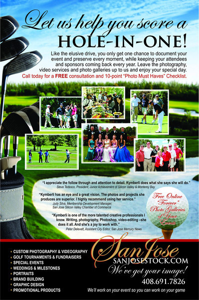 SanJoseStock.com full page ad targeting golf club event photography