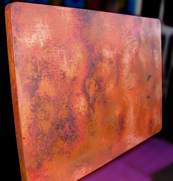 Here it is, Ellen. I love the patina. As time passes because copper is a living organism, the colors will mute out a bit. The last two photos show an example of how it will age.