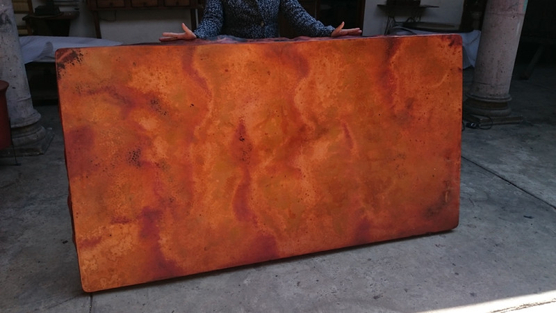 This is the lamina before it is waxed and attached to the wood substrate. It is crude. When it is attached to the substrate and waxed, the colors will blend in better, and be more beautiful. The purpose of presenting these photos is for you to note that the color palette and the pattern of colors.