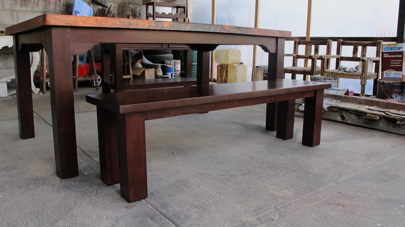 The dining room table with the bench.