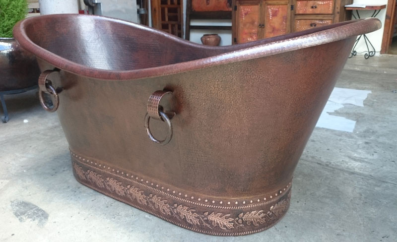 "72""L  x 35""W x 35"" H - Slipper Copper Bathtub with embossing. Embossing to be bright copper with the background dark brown."
