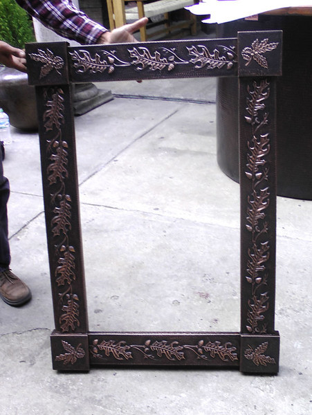 2 Mirror frames - 27W x 38H. Bright copper embossing, same design as tub embossing with acorn leaf in corner.