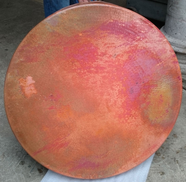 This is a sample of the patina. It has not been waxed yet. It is shown here to show you the colors. After waxing, the colors will be more muted and flow together. This is very similar to the table tops that were done in 2009.