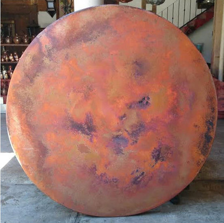 """72"""" round copper table top. This photos was taken before the wax was applied."""