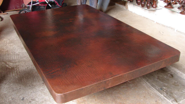 Copper Table Top -- 72 x 45 x 3, dark/light patina.