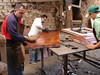 Here you see the patina being applied to the sofa table top.