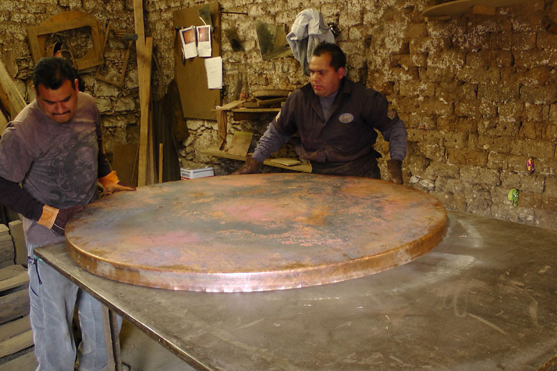 Before going into the fire, the copper has to be removed from the substrate.