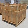 This is what the crate should look like when it is delivered. The tables are assembled in the crate. All you have to do is remove them.