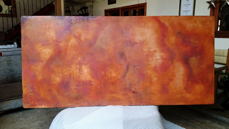 Truly beautiful patina color. This photo and the following photo show the finished patina with wax applied. Wax is applied to protect the patina color. It has not been mounted on the wood backing yet. As copper ages, the patina coloration becomes deeper and even more beautiful.