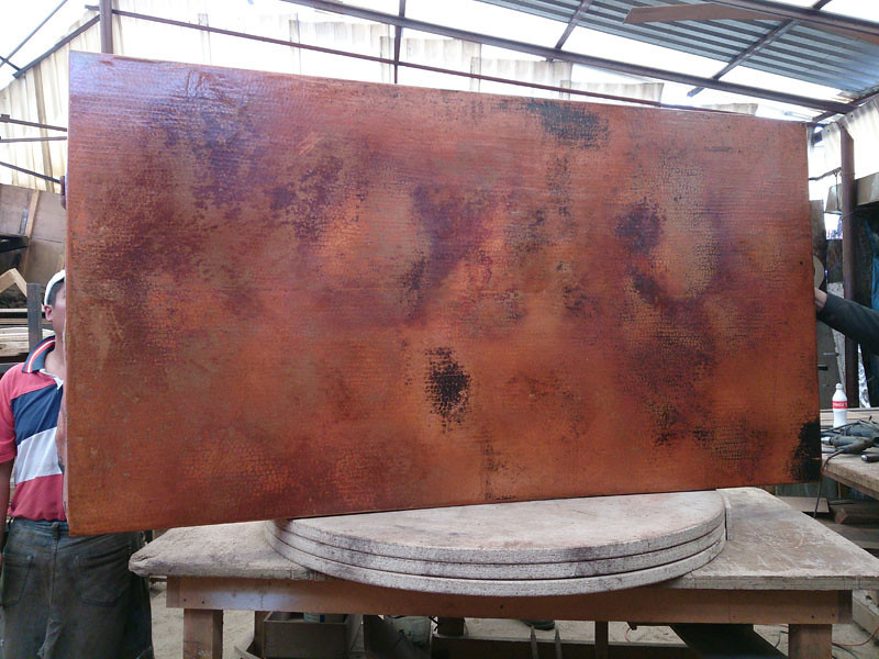 This photo shows the lamina after it has gone through the fire. You can see that they did a great job bringing out the colors. You won't see the true beauty of the lamina until it is waxed. It is truly a beautiful piece, Will and Julie. You should be very pleased.