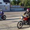 """Friday evening, ride out. Pete """"Goggles"""" and Dan """"'Nilo"""" fueling up."""