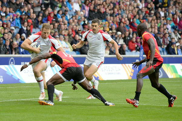 July 27, 2014 - Rugby Sevens - Canada vs. Uganda, Placing 9-12 group during the Rugby Sevens at the 20th Commonwealth Games in Glasgow, Scotland.  Final score of the game was Canada 32 and Uganda 0.