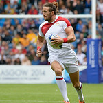 July 27, 2014 - Rugby Sevens - Samoa vs. England in the Quarter finals during the Rugby Sevens at the 20th Commonwealth Games in Glasgow, Scotland. <br /> <br /> Michael Ellery (#2) of England after receiving the kick-off at the beginning of the game. <br /> <br /> Final score of the game was Samoa 15 and England 14.<br /> <br /> If you have any questions don't hesitate to reach out to us!<br /> <br /> Thanks!<br /> <br /> Photos by Al Milligan, Al Milligan Images, 2014