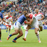 July 27, 2014 - Rugby Sevens - Samoa vs. England in the Quarter finals during the Rugby Sevens at the 20th Commonwealth Games in Glasgow, Scotland.<br /> <br /> Michael Ellery (#2) of England being blocked after receiving the kick-off at the beginning of the game. <br /> <br /> <br /> Final score of the game was Samoa 15 and England 14.<br /> <br /> If you have any questions don't hesitate to reach out to us!<br /> <br /> Thanks!<br /> <br /> Photos by Al Milligan, Al Milligan Images, 2014