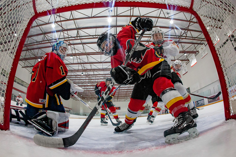 January 22, 2019 - Calgary, Alberta - The KRS Vanke Rays visited Calgary to play the Inferno at the Crowchild Twin Arenas in Calgary. Inferno defender Tori Hickel stops the puck from crossing the goal line.