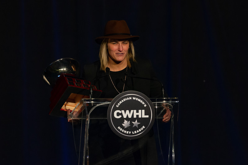 TORONTO, ON - March 22, 2019: Marie-Philip Poulin wins the 2019 Angela James Bowl.The Mattamy Centre of Ryerson University hosted the 2019 edition of the CWHL Awards Ceremony.