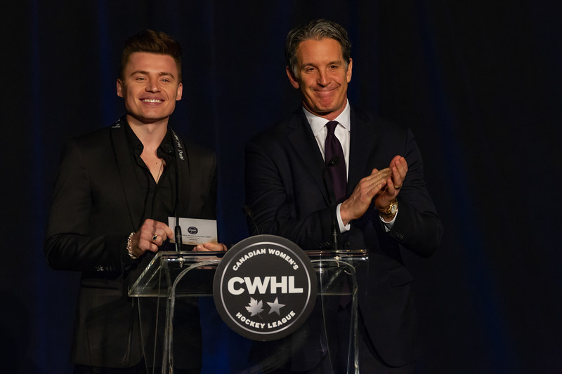 TORONTO, ON - March 22, 2019: Shawn Hook and Brendan Shanahan present the CWHL MVP Award. The Mattamy Centre of Ryerson University hosted the 2019 edition of the CWHL Awards Ceremony.