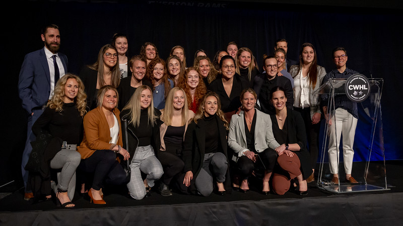 TORONTO, ON - March 22, 2019: The Calgary Inferno at the CWHL Awards Ceremony.