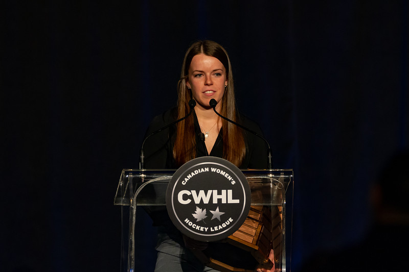 TORONTO, ON - March 22, 2019: Victoria Bach is the 2019 Rookie of the year winner. The Mattamy Centre of Ryerson University hosted the 2019 edition of the CWHL Awards Ceremony.