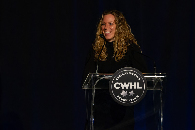 TORONTO, ON - March 22, 2019: Alex Rigsby of the Calgary Inferno is the CWHL's 2019 goalie of the year. The Mattamy Centre of Ryerson University hosted the 2019 edition of the CWHL Awards Ceremony.