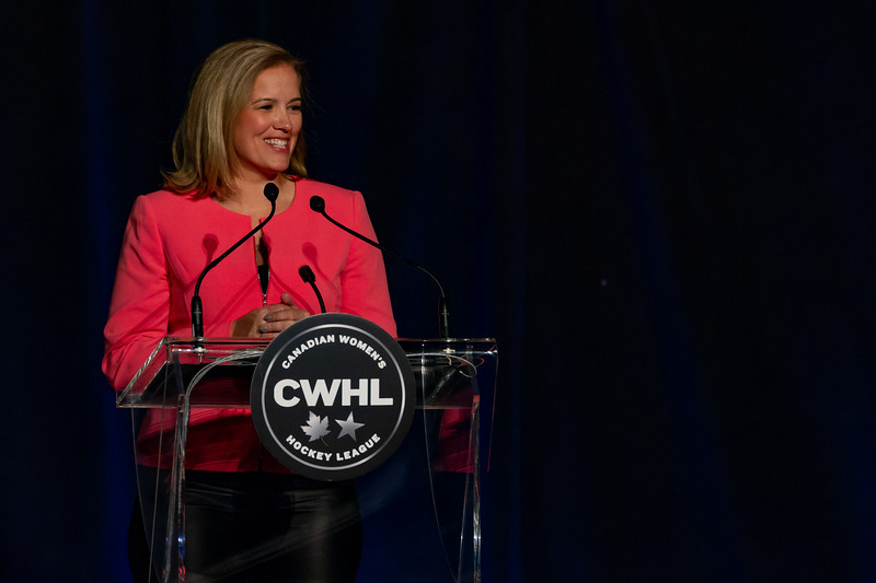 TORONTO, ON - March 22, 2019: Cassie Campbell-Pascal presents the Humanitarian of the year award. The Mattamy Centre of Ryerson University hosted the 2019 edition of the CWHL Awards Ceremony.