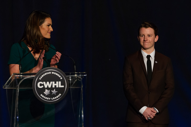 TORONTO, ON - March 22, 2019: Harrison Browne with Caroline Cameron at the 2019 CWHL Awards.  The Mattamy Centre of Ryerson University hosted the 2019 edition of the CWHL Awards Ceremony.