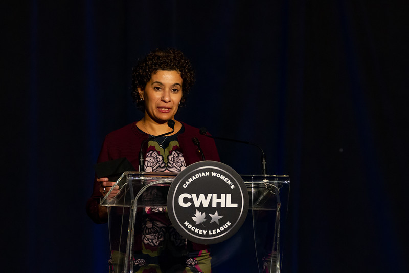 TORONTO, ON - March 22, 2019: Scotiabank representative presents the CWHL Coach of the Year Award. The Mattamy Centre of Ryerson University hosted the 2019 edition of the CWHL Awards Ceremony.