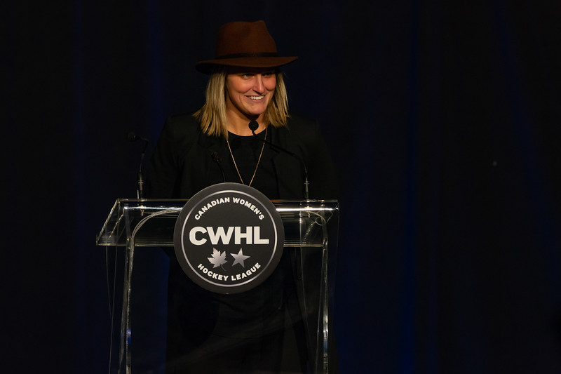 TORONTO, ON - March 22, 2019: Marie-Philip Poulin is the CWHL's 2019 Jayna Hefford MVP Award winner.  The Mattamy Centre of Ryerson University hosted the 2019 edition of the CWHL Awards Ceremony.