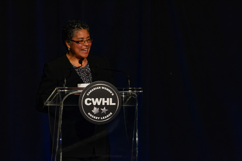 TORONTO, ON - March 22, 2019: Angela James presents the trophy named after her, the Angela James Bowl. The Mattamy Centre of Ryerson University hosted the 2019 edition of the CWHL Awards Ceremony.