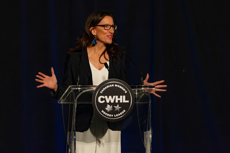 TORONTO, ON - March 22, 2019: CWHL Board Chair Laurel Walzak addresses the audience at the CWHL Awards Ceremony. The Mattamy Centre of Ryerson University hosted the 2019 edition of the CWHL Awards Ceremony.