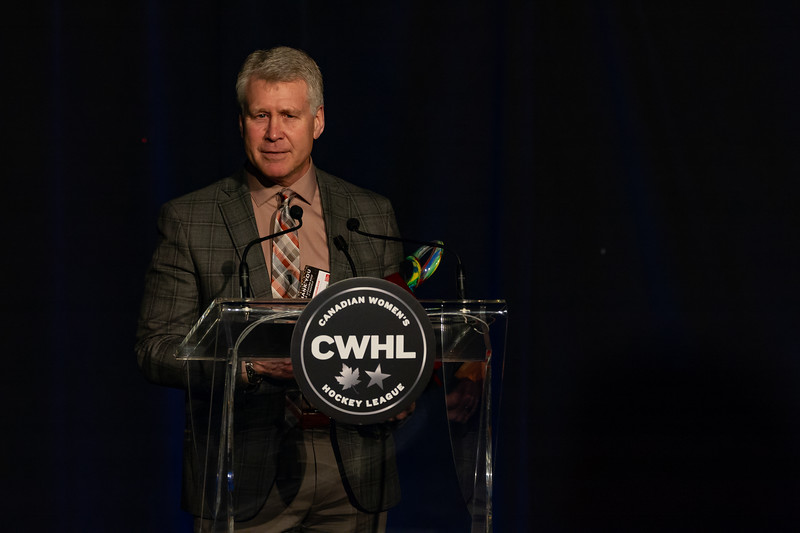 TORONTO, ON - March 22, 2019: Jim Jackson coach of the Markham Thunder wins coach of the year. The Mattamy Centre of Ryerson University hosted the 2019 edition of the CWHL Awards Ceremony.
