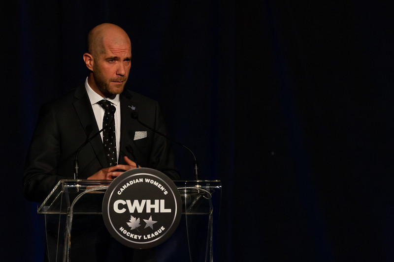 TORONTO, ON - March 22, 2019: Mike Bartlett was selected as the 2019 Humanitarian of the year award recipient. The Mattamy Centre of Ryerson University hosted the 2019 edition of the CWHL Awards Ceremony.