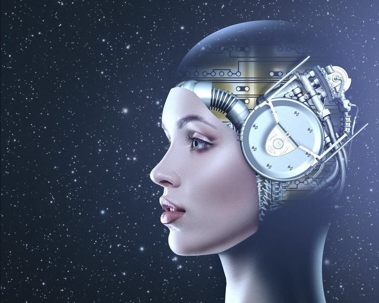 Cyber look. Science and technology backgrounds with futuristic female portrait