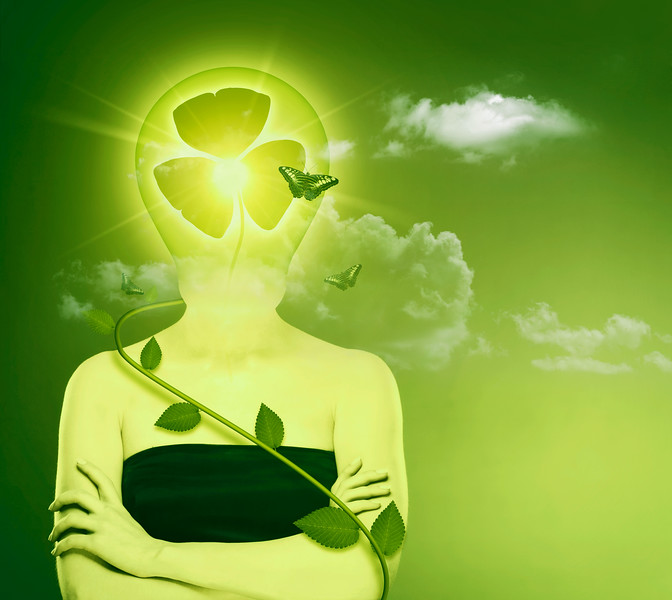 Green energy and eco protection concept. Female abstract portrait